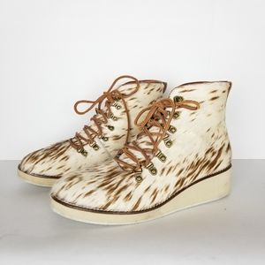 Ecote calf hair leather combat booties, size 8